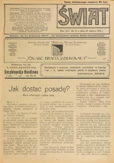 Świat : pismo tygodniowe ilustrowane poświęcone życiu społecznemu, literaturze i sztuce. R. 13 (1918), nr 12 (23 marca)
