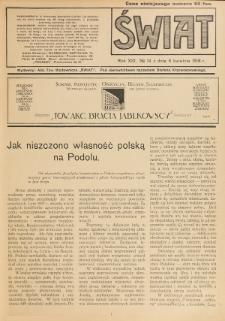 Świat : pismo tygodniowe ilustrowane poświęcone życiu społecznemu, literaturze i sztuce. R. 13 (1918), nr 14 (6 kwietnia)