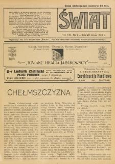 Świat : pismo tygodniowe ilustrowane poświęcone życiu społecznemu, literaturze i sztuce. R. 13 (1918), nr 8 (23 lutego)
