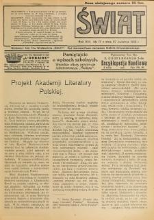 Świat : pismo tygodniowe ilustrowane poświęcone życiu społecznemu, literaturze i sztuce. R. 13 (1918), nr 17 (27 kwietnia)