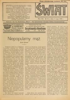 Świat : pismo tygodniowe ilustrowane poświęcone życiu społecznemu, literaturze i sztuce. R. 13 (1918), nr 19 (11 maja)
