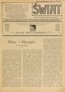 Świat : pismo tygodniowe ilustrowane poświęcone życiu społecznemu, literaturze i sztuce. R. 13 (1918), nr 20 (18 maja)