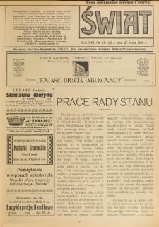 Świat : pismo tygodniowe ilustrowane poświęcone życiu społecznemu, literaturze i sztuce. R. 13 (1918), nr 27-28 (27 lipca)