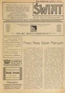 Świat : pismo tygodniowe ilustrowane poświęcone życiu społecznemu, literaturze i sztuce. R. 13 (1918), nr 23-24 (13 lipca)