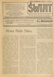 Świat : pismo tygodniowe ilustrowane poświęcone życiu społecznemu, literaturze i sztuce. R. 13 (1918), nr 21-22 (6 lipca)