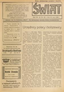 Świat : pismo tygodniowe ilustrowane poświęcone życiu społecznemu, literaturze i sztuce. R. 13 (1918), nr 25-26 (20 lipca)