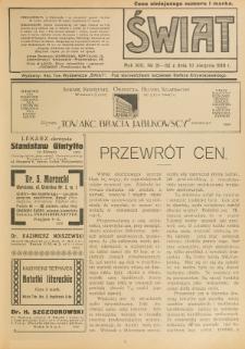Świat : pismo tygodniowe ilustrowane poświęcone życiu społecznemu, literaturze i sztuce. R. 13 (1918), nr 31-32 (10 sierpnia)