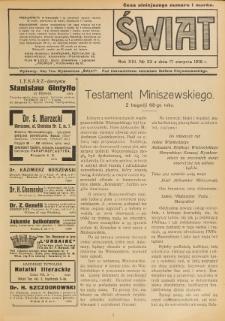 Świat : pismo tygodniowe ilustrowane poświęcone życiu społecznemu, literaturze i sztuce. R. 13 (1918), nr 33 (17 sierpnia)