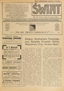 Świat : pismo tygodniowe ilustrowane poświęcone życiu społecznemu, literaturze i sztuce. R. 13 (1918), nr 34 (24 sierpnia)