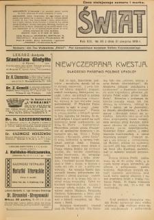 Świat : pismo tygodniowe ilustrowane poświęcone życiu społecznemu, literaturze i sztuce. R. 13 (1918), nr 35 (31 sierpnia)