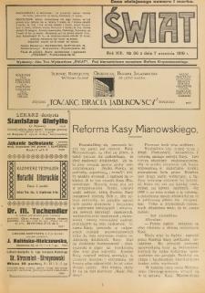 Świat : pismo tygodniowe ilustrowane poświęcone życiu społecznemu, literaturze i sztuce. R. 13 (1918), nr 36 (7 września)