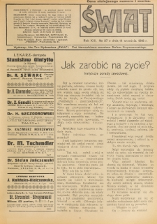 Świat : pismo tygodniowe ilustrowane poświęcone życiu społecznemu, literaturze i sztuce. R. 13 (1918), nr 37 (14 września)