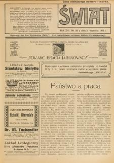 Świat : pismo tygodniowe ilustrowane poświęcone życiu społecznemu, literaturze i sztuce. R. 13 (1918), nr 38 (21 września)