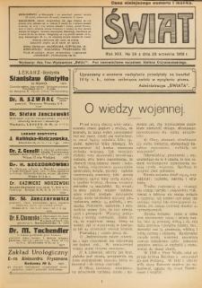 Świat : pismo tygodniowe ilustrowane poświęcone życiu społecznemu, literaturze i sztuce. R. 13 (1918), nr 39 (28 września)