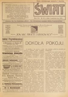 Świat : pismo tygodniowe ilustrowane poświęcone życiu społecznemu, literaturze i sztuce. R. 13 (1918), nr 40 (5 października)