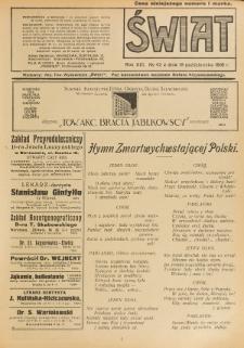 Świat : pismo tygodniowe ilustrowane poświęcone życiu społecznemu, literaturze i sztuce. R. 13 (1918), nr 42 (19 października)