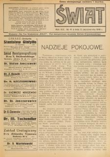 Świat : pismo tygodniowe ilustrowane poświęcone życiu społecznemu, literaturze i sztuce. R. 13 (1918), nr 41 (12 października)