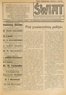 Świat : pismo tygodniowe ilustrowane poświęcone życiu społecznemu, literaturze i sztuce. R. 13 (1918), nr 43 (26 października)
