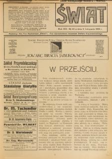 Świat : pismo tygodniowe ilustrowane poświęcone życiu społecznemu, literaturze i sztuce. R. 13 (1918), nr 44 (2 listopada)