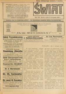 Świat : pismo tygodniowe ilustrowane poświęcone życiu społecznemu, literaturze i sztuce. R. 13 (1918), nr 46 (16 listopada)