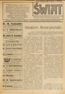 Świat : pismo tygodniowe ilustrowane poświęcone życiu społecznemu, literaturze i sztuce. R. 13 (1918), nr 47 (23 listopada)