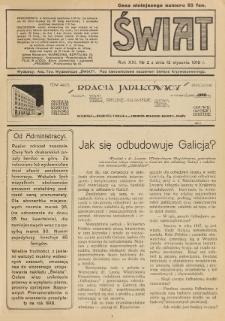 Świat : pismo tygodniowe ilustrowane poświęcone życiu społecznemu, literaturze i sztuce. R. 13 (1918), nr 2 (12 stycznia)