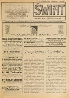 Świat : pismo tygodniowe ilustrowane poświęcone życiu społecznemu, literaturze i sztuce. R. 13 (1918), nr 48 (30 listopada)
