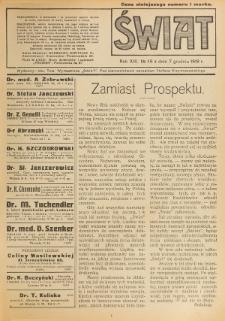 Świat : pismo tygodniowe ilustrowane poświęcone życiu społecznemu, literaturze i sztuce. R. 13 (1918), nr 49 (7 grudnia)