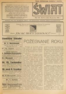 Świat : pismo tygodniowe ilustrowane poświęcone życiu społecznemu, literaturze i sztuce. R. 13 (1918), nr 52 (28 grudnia)