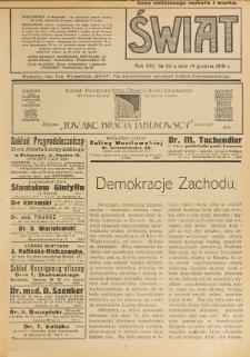 Świat : pismo tygodniowe ilustrowane poświęcone życiu społecznemu, literaturze i sztuce. R. 13 (1918), nr 50 (14 grudnia)