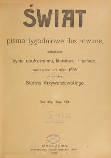 Świat : pismo tygodniowe ilustrowane poświęcone życiu społecznemu, literaturze i sztuce. R. 14 (1919), Spis rzeczy za 1919 rok