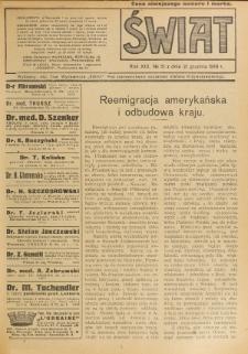 Świat : pismo tygodniowe ilustrowane poświęcone życiu społecznemu, literaturze i sztuce. R. 13 (1918), nr 51 (21 grudnia)