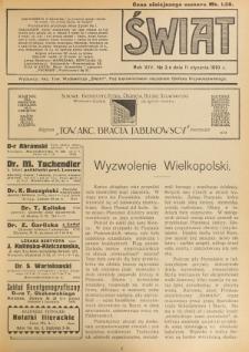 Świat : pismo tygodniowe ilustrowane poświęcone życiu społecznemu, literaturze i sztuce. R. 14 (1919), nr 2 (11 stycznia)