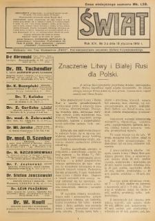 Świat : pismo tygodniowe ilustrowane poświęcone życiu społecznemu, literaturze i sztuce. R. 14 (1919), nr 3 (18 stycznia)