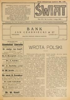 Świat : pismo tygodniowe ilustrowane poświęcone życiu społecznemu, literaturze i sztuce. R. 14 (1919), nr 5 (1 lutego)