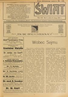 Świat : pismo tygodniowe ilustrowane poświęcone życiu społecznemu, literaturze i sztuce. R. 14 (1919), nr 6 (8 lutego)