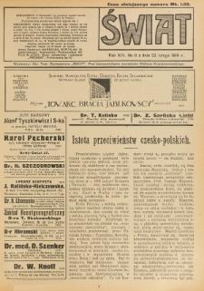 Świat : pismo tygodniowe ilustrowane poświęcone życiu społecznemu, literaturze i sztuce. R. 14 (1919), nr 8 (22 lutego)
