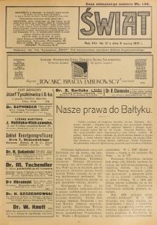 Świat : pismo tygodniowe ilustrowane poświęcone życiu społecznemu, literaturze i sztuce. R. 14 (1919), nr 10 (8 marca)
