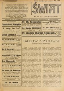 Świat : pismo tygodniowe ilustrowane poświęcone życiu społecznemu, literaturze i sztuce. R. 14 (1919), nr 13 (29 marca)