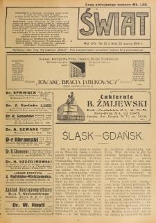 Świat : pismo tygodniowe ilustrowane poświęcone życiu społecznemu, literaturze i sztuce. R. 14 (1919), nr 12 (22 marca)