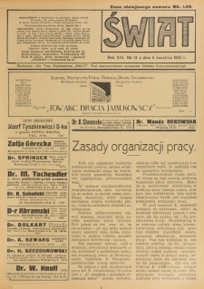 Świat : pismo tygodniowe ilustrowane poświęcone życiu społecznemu, literaturze i sztuce. R. 14 (1919), nr 14 (5 kwietnia)