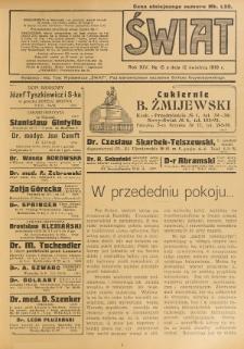 Świat : pismo tygodniowe ilustrowane poświęcone życiu społecznemu, literaturze i sztuce. R. 14 (1919), nr 15 (12 kwietnia)