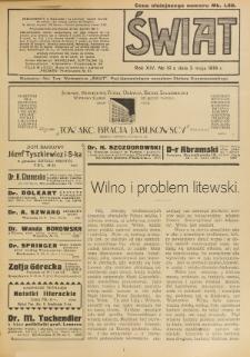 Świat : pismo tygodniowe ilustrowane poświęcone życiu społecznemu, literaturze i sztuce. R. 14 (1919), nr 18 (3 maja)