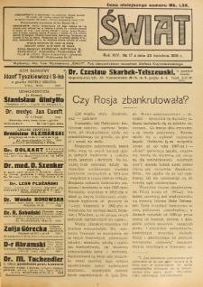 Świat : pismo tygodniowe ilustrowane poświęcone życiu społecznemu, literaturze i sztuce. R. 14 (1919), nr 17 (26 kwietnia)