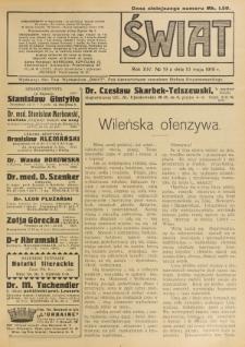 Świat : pismo tygodniowe ilustrowane poświęcone życiu społecznemu, literaturze i sztuce. R. 14 (1919), nr 19 (10 maja)
