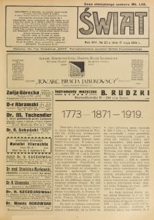 Świat : pismo tygodniowe ilustrowane poświęcone życiu społecznemu, literaturze i sztuce. R. 14 (1919), nr 20 (17 maja)