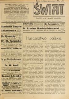 Świat : pismo tygodniowe ilustrowane poświęcone życiu społecznemu, literaturze i sztuce. R. 14 (1919), nr 21 (24 maja)