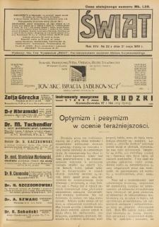 Świat : pismo tygodniowe ilustrowane poświęcone życiu społecznemu, literaturze i sztuce. R. 14 (1919), nr 22 (31 maja)