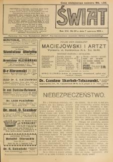 Świat : pismo tygodniowe ilustrowane poświęcone życiu społecznemu, literaturze i sztuce. R. 14 (1919), nr 23 (7 czerwca)