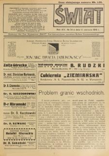 Świat : pismo tygodniowe ilustrowane poświęcone życiu społecznemu, literaturze i sztuce. R. 14 (1919), nr 24 (14 czerwca)